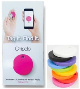 Chipolo product photo of tags and app