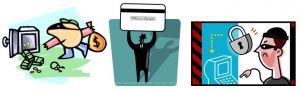 3 clipart images of identity theft