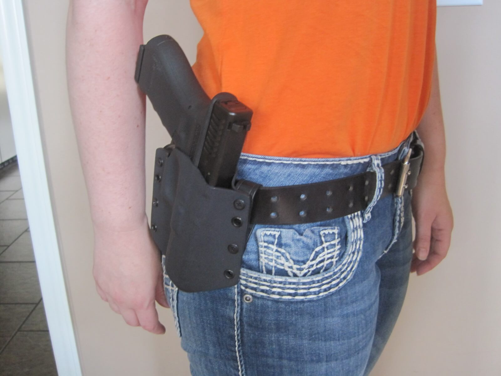 Regular leather belt, G17 OWB holster